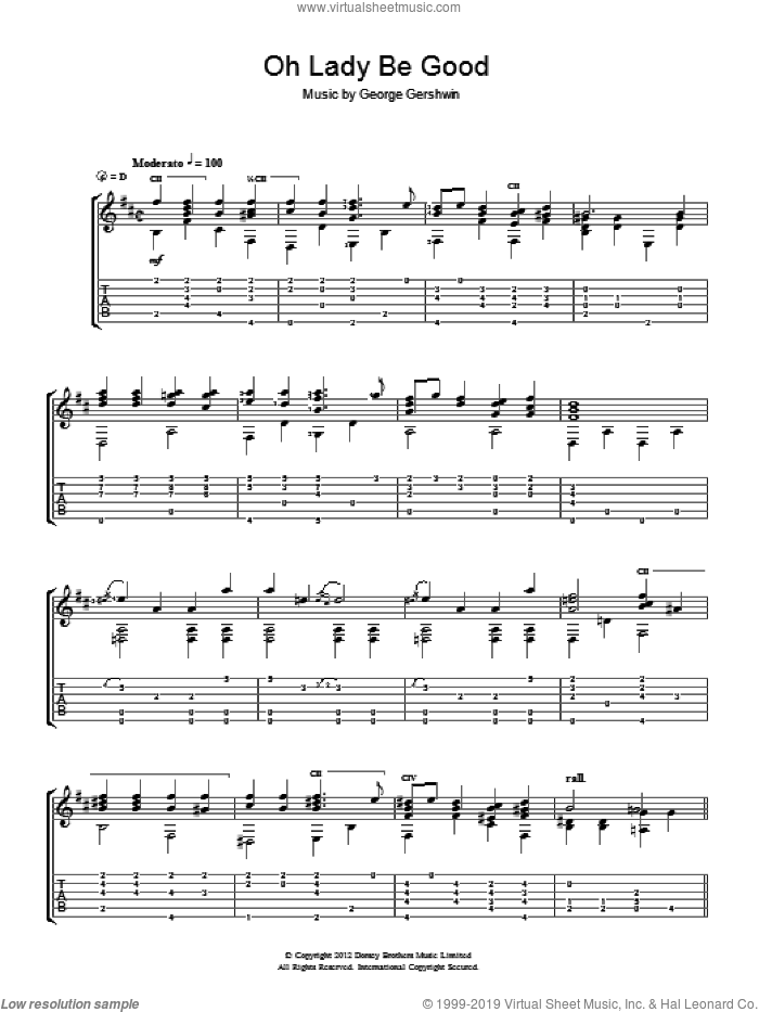 Oh, Lady, Be Good sheet music for guitar solo (chords) by Jerry Willard and George Gershwin, easy guitar (chords)