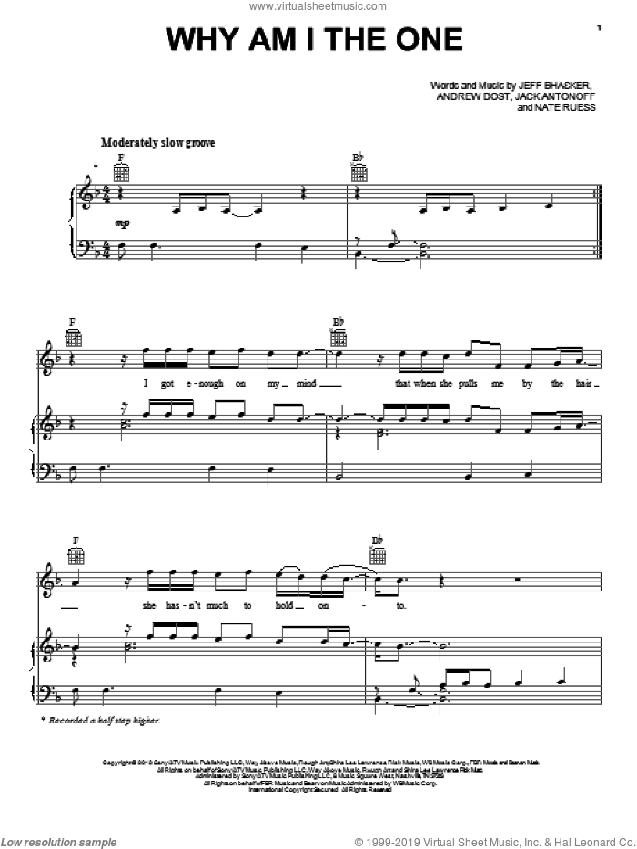 Why Am I The One sheet music for voice, piano or guitar by Fun, intermediate skill level
