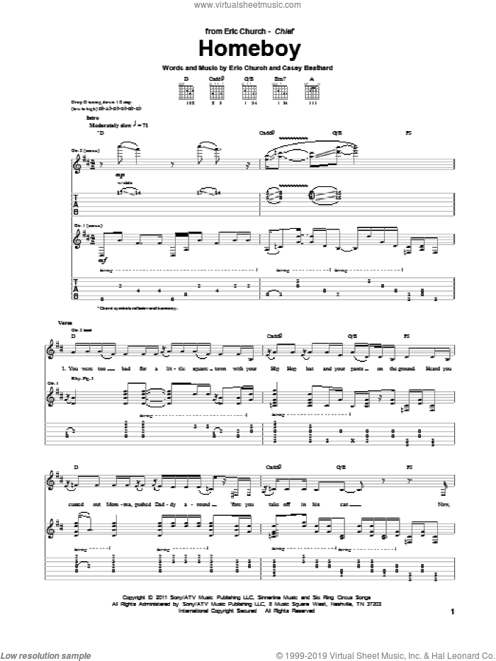 Homeboy sheet music for guitar (tablature) by Eric Church and Casey Beathard, intermediate skill level