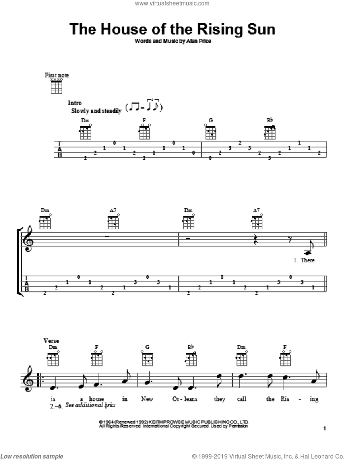 The House Of The Rising Sun sheet music for ukulele by The Animals and Alan Price, intermediate skill level