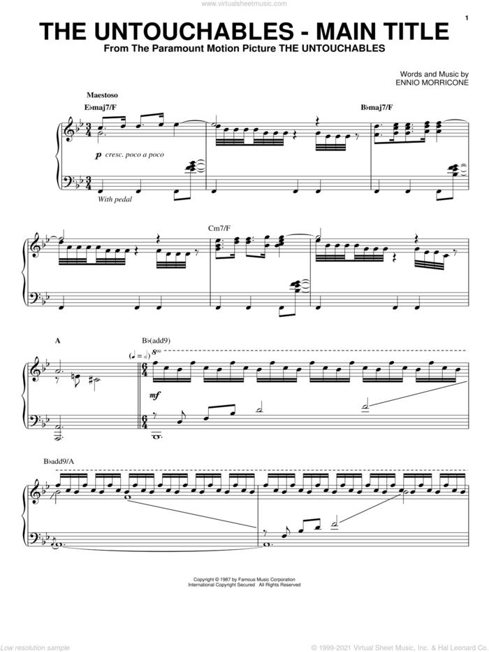 The Untouchables - Main Title sheet music for piano solo by Ennio Morricone, intermediate skill level