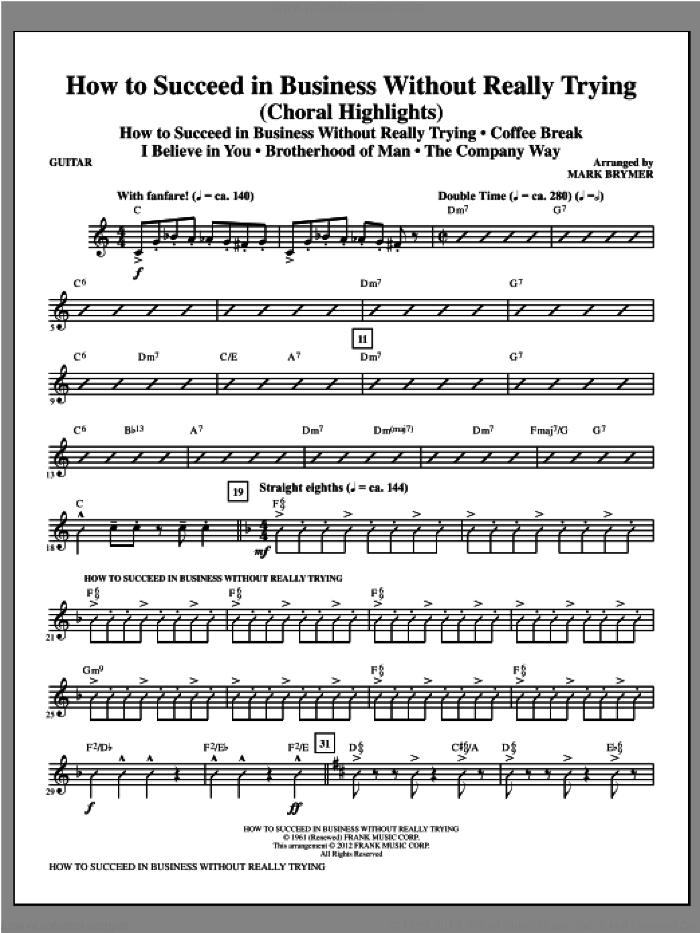 How to Succeed In Business Without Really Trying (Medley) sheet music for orchestra/band (guitar) by Mark Brymer, intermediate skill level