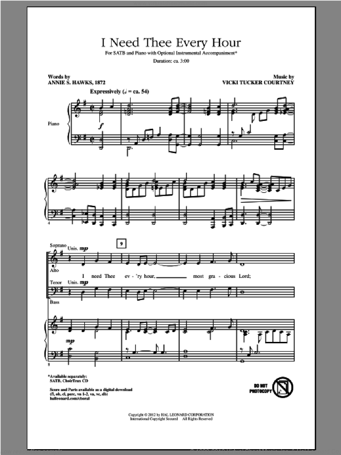 I Need Thee Every Hour sheet music for choir (SATB: soprano, alto, tenor, bass) by Annie S. Hawks and Vicki Tucker Courtney, intermediate skill level