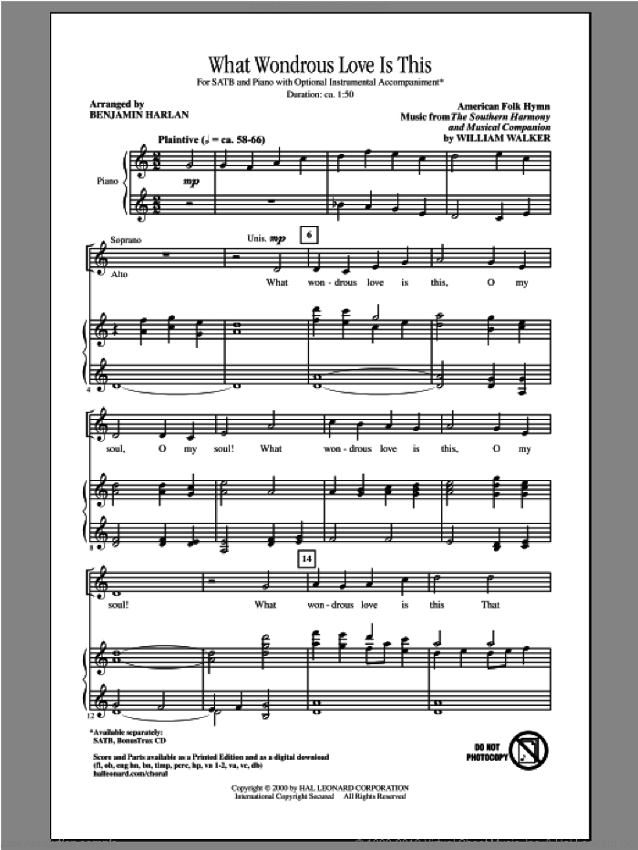 What Wondrous Love Is This sheet music for choir (SATB: soprano, alto, tenor, bass) by Benjamin Harlan and Miscellaneous, intermediate skill level