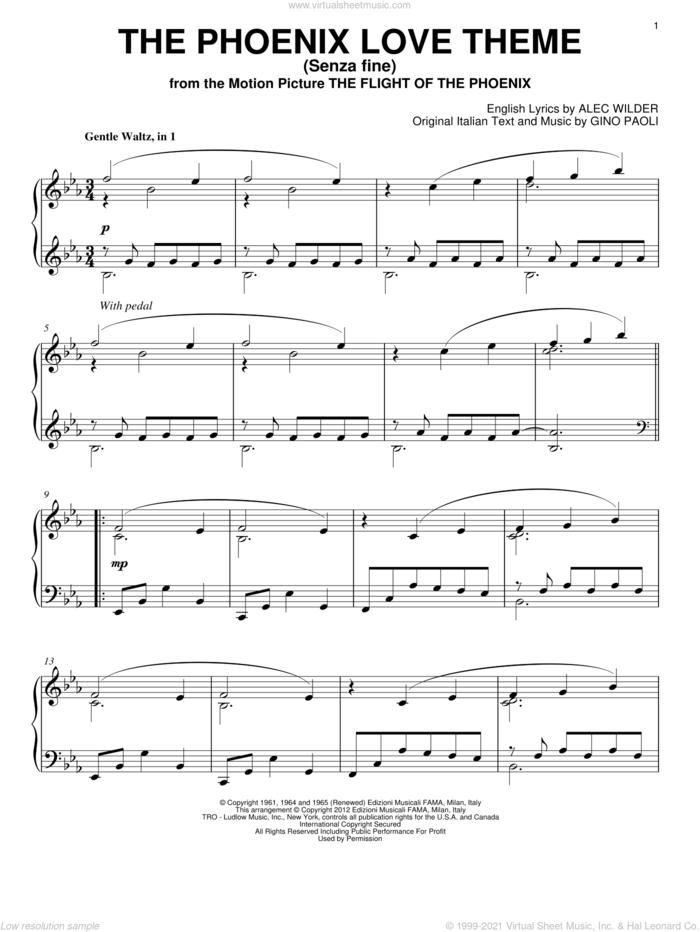 The Phoenix Love Theme (Senza Fine) sheet music for piano solo by Gino Paoli and Alec Wilder, intermediate skill level