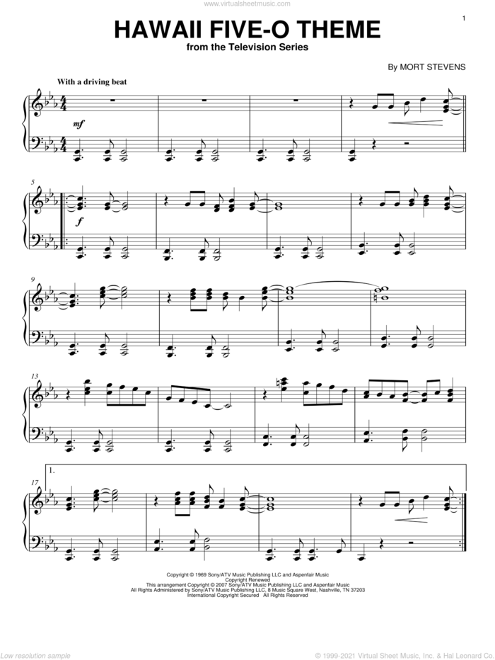 Hawaii Five-O Theme, (intermediate) sheet music for piano solo by The Ventures and Mort Stevens, intermediate skill level
