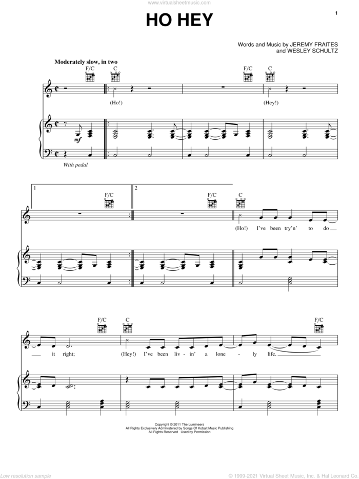 Ho Hey sheet music for voice, piano or guitar by The Lumineers, Jeremy Fraites and Wesley Schultz, intermediate skill level