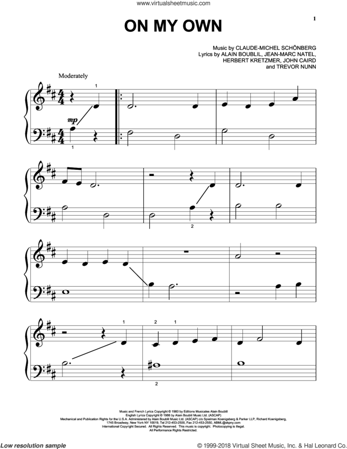 On My Own (from Les Miserables) sheet music for piano solo (big note book) by Claude-Michel Schonberg and Alain Boublil, easy piano (big note book)