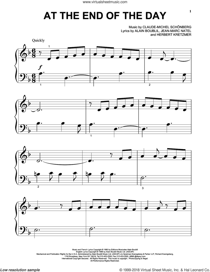 At The End Of The Day sheet music for piano solo (big note book) by Claude-Michel Schonberg, Alain Boublil, Herbert Kretzmer and Jean-Marc Natel, easy piano (big note book)