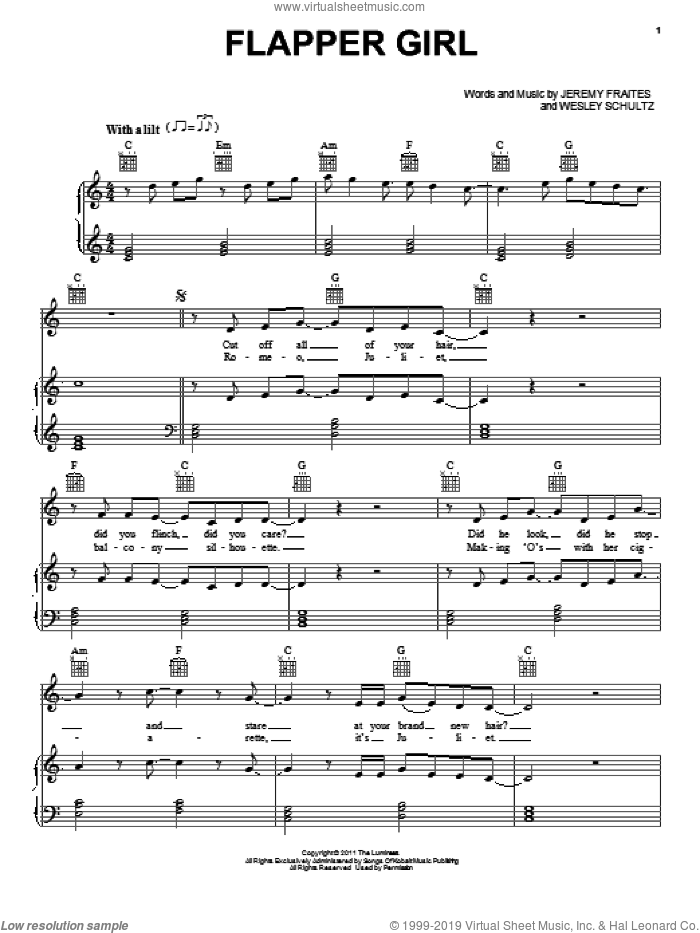 Flapper Girl sheet music for voice, piano or guitar by The Lumineers, Jeremy Fraites and Wesley Schultz, intermediate skill level