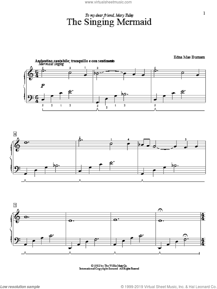 The Singing Mermaid sheet music for piano solo (elementary) by Edna Mae Burnam, beginner piano (elementary)