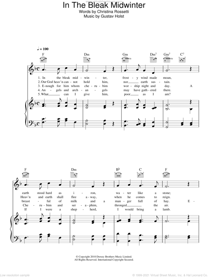 In The Bleak Midwinter sheet music for voice, piano or guitar by Gustav Holst, Miscellaneous and Christina Rossetti, intermediate skill level
