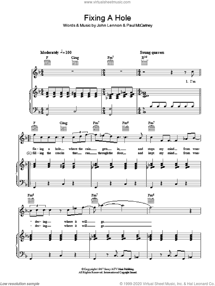 Fixing A Hole sheet music for voice, piano or guitar by The Beatles, John Lennon and Paul McCartney, intermediate skill level