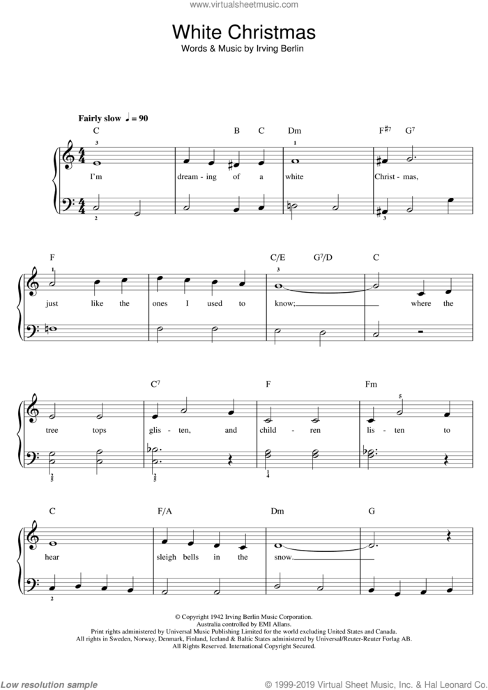 White Christmas sheet music for piano solo (beginners) by Bing Crosby, Otis Redding and Irving Berlin, beginner piano (beginners)