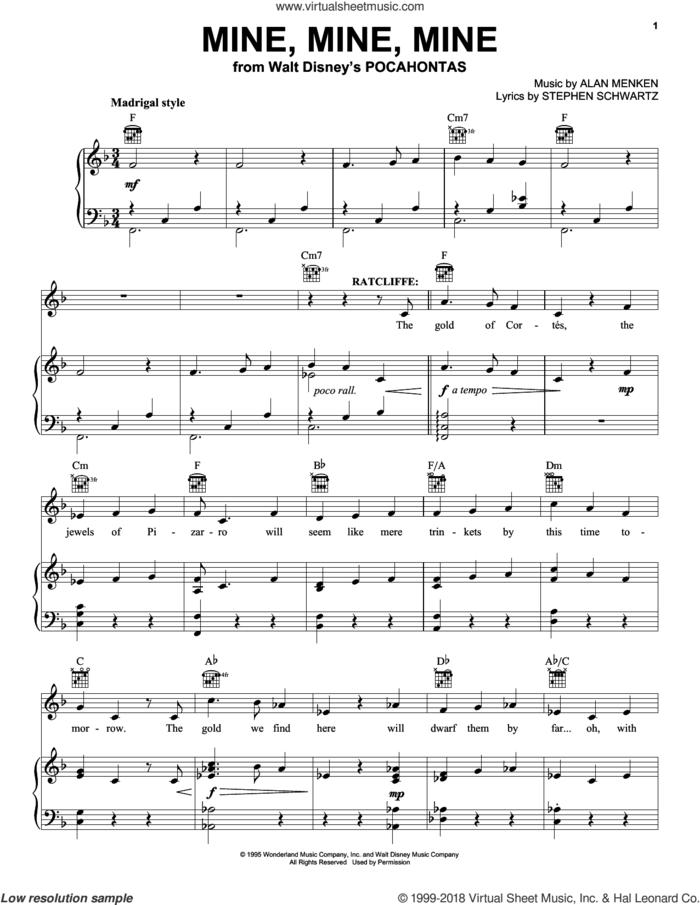 Mine, Mine, Mine sheet music for voice, piano or guitar by Alan Menken and Stephen Schwartz, intermediate skill level