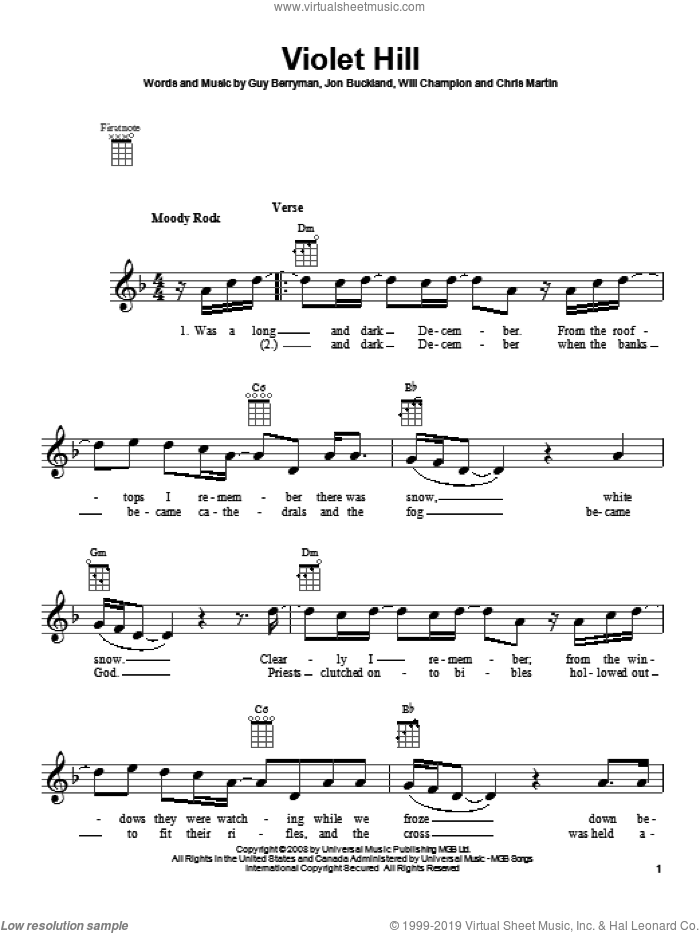 Violet Hill sheet music for ukulele by Coldplay, intermediate skill level