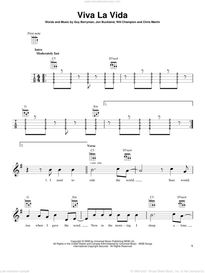 Viva La Vida sheet music for ukulele by Coldplay, intermediate skill level