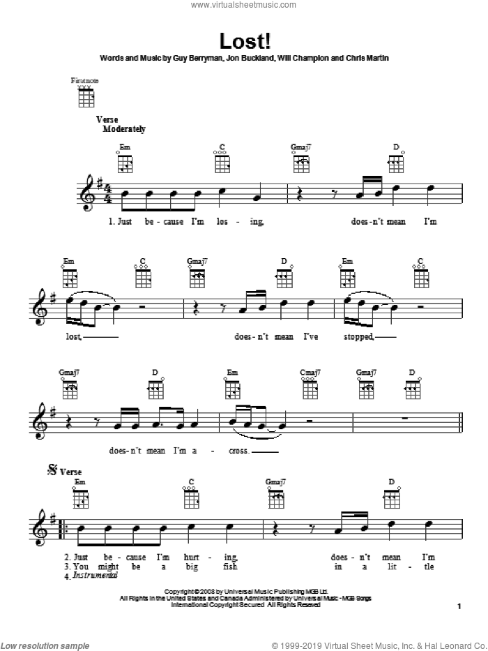 Lost! sheet music for ukulele by Coldplay, intermediate skill level