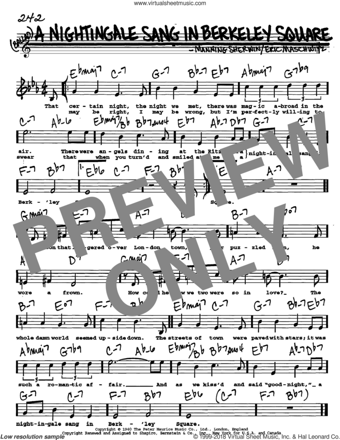 A Nightingale Sang In Berkeley Square sheet music for voice and other instruments  by Manhattan Transfer, Eric Maschwitz and Manning Sherwin, intermediate skill level