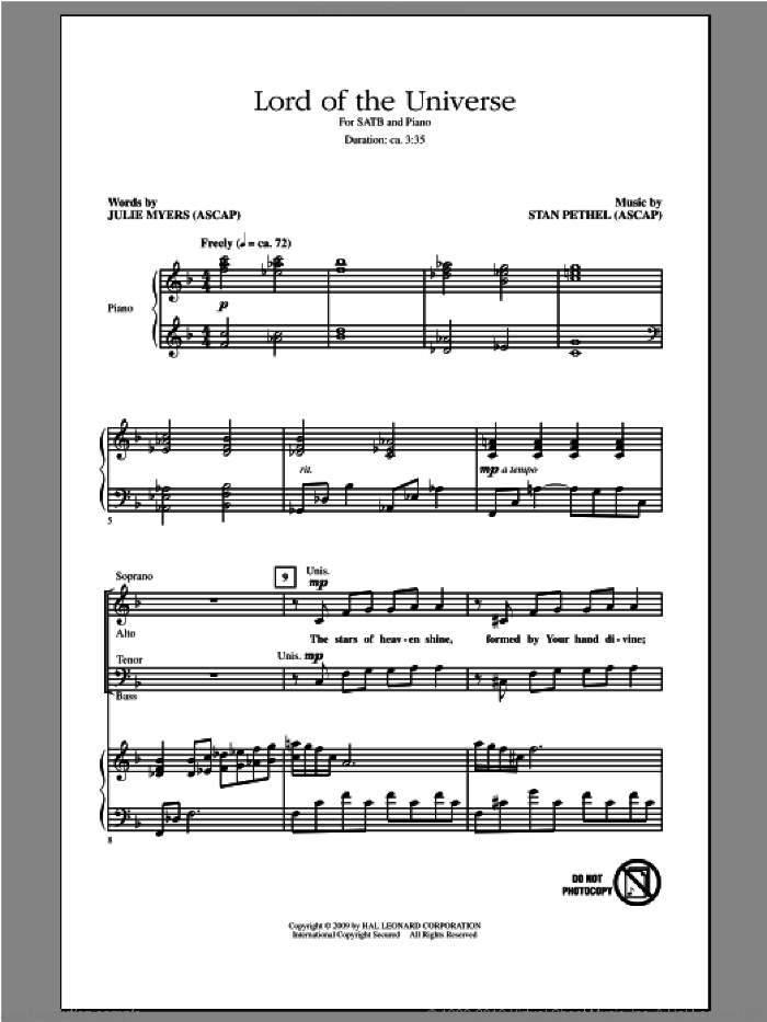 Lord Of The Universe sheet music for choir (SATB: soprano, alto, tenor, bass) by Stan Pethel and Julie Myers, intermediate skill level