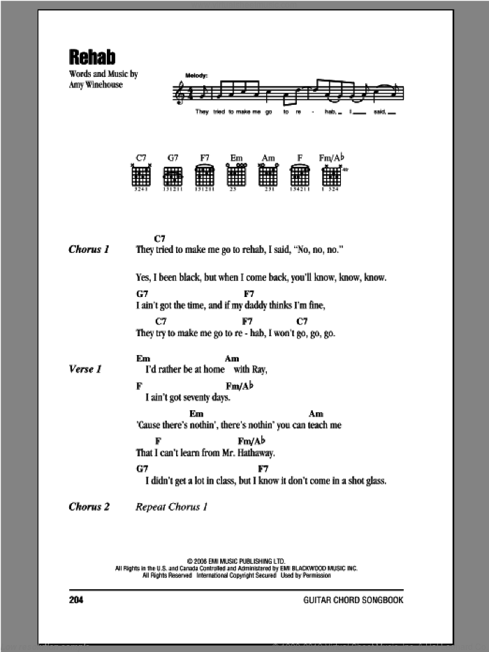 Rehab sheet music for guitar (chords) by Amy Winehouse, intermediate skill level