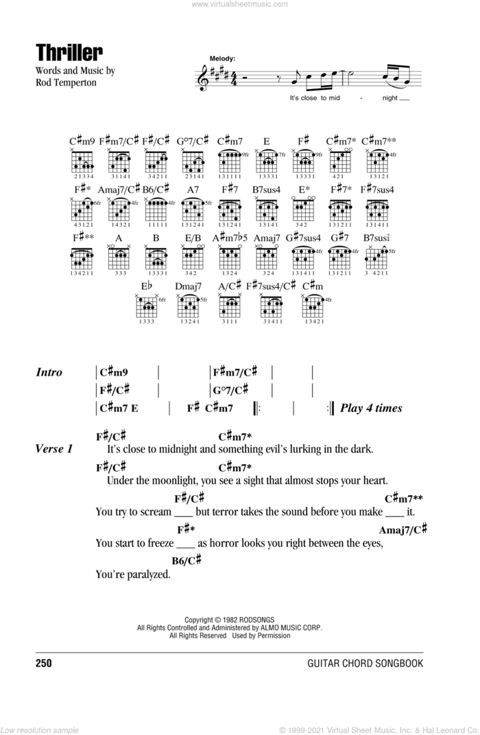 Thriller sheet music for guitar (chords) by Michael Jackson and Rod Temperton, intermediate skill level
