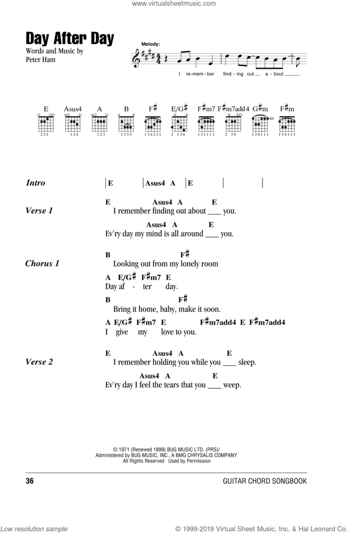 Day After Day sheet music for guitar (chords) by Badfinger and Pete Ham, intermediate skill level
