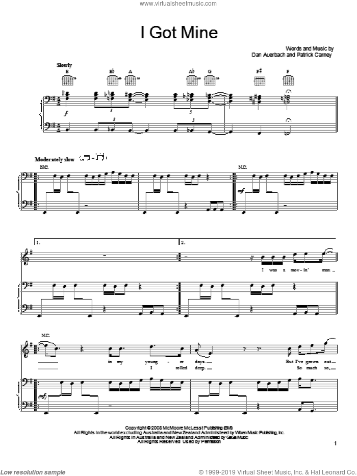 I Got Mine sheet music for voice, piano or guitar by The Black Keys, Daniel Auerbach and Patrick Carney, intermediate skill level