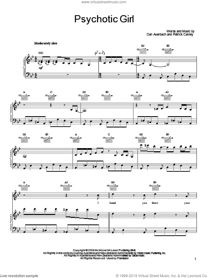 Psychotic Girl sheet music for voice, piano or guitar by The Black Keys, Daniel Auerbach and Patrick Carney, intermediate skill level