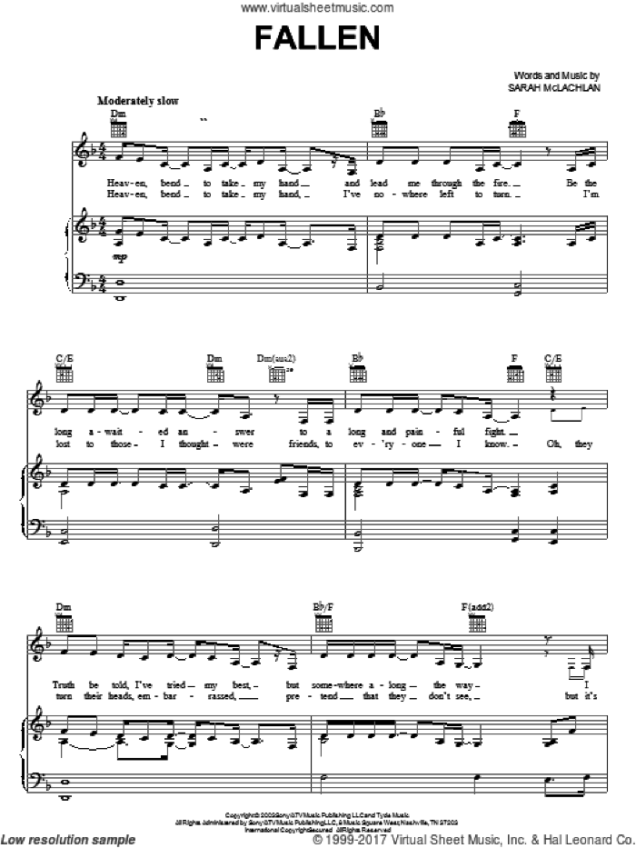 Sarah McLachlan - Afterglow (complete set of parts) sheet music for voice, piano or guitar by Sarah McLachlan and Pierre Marchand, intermediate skill level
