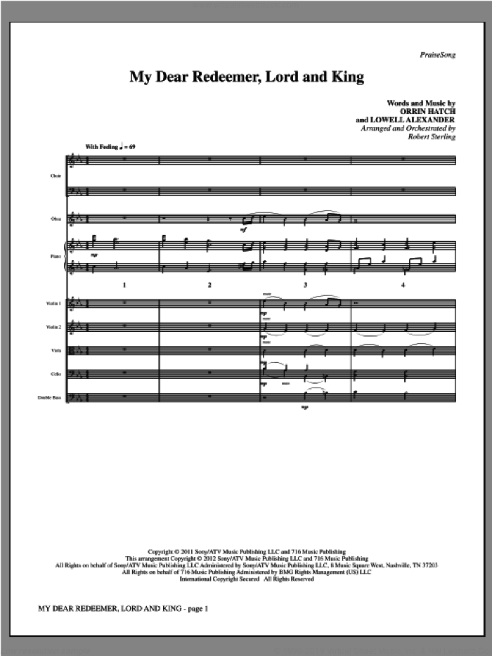 My Dear Redeemer, Lord And King (complete set of parts) sheet music for orchestra/band (Strings) by Lowell Alexander, Orrin Hatch and Robert Sterling, intermediate skill level