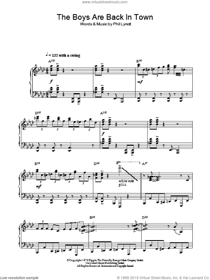 The Boys Are Back In Town (Jazz Version) sheet music for piano solo by Thin Lizzy and Phil Lynott, intermediate skill level
