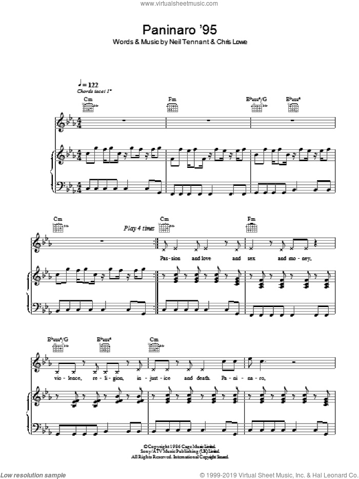 Paninaro '95 sheet music for voice, piano or guitar by Pet Shop Boys, Chris Lowe and Neil Tennant, intermediate skill level
