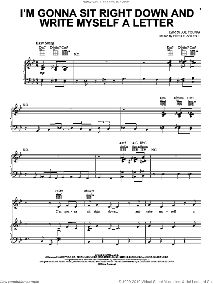 I'm Gonna Sit Right Down And Write Myself A Letter sheet music for voice, piano or guitar by Paul McCartney, Billy Williams and Willie Nelson, intermediate skill level