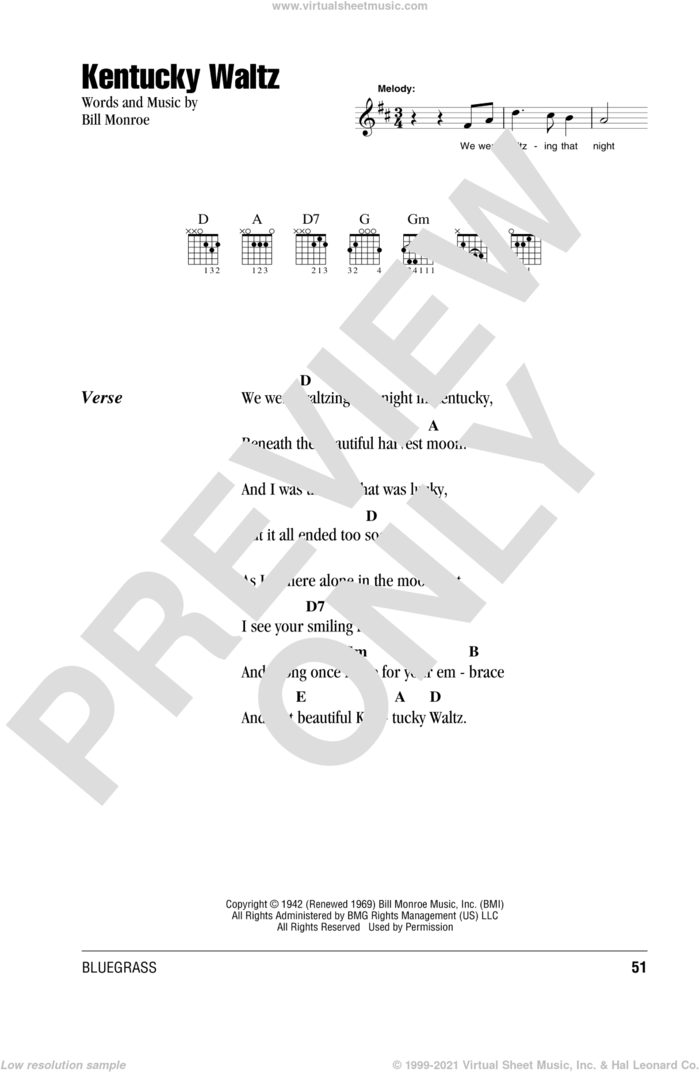 Kentucky Waltz sheet music for guitar (chords) by Eddy Arnold and Bill Monroe, intermediate skill level