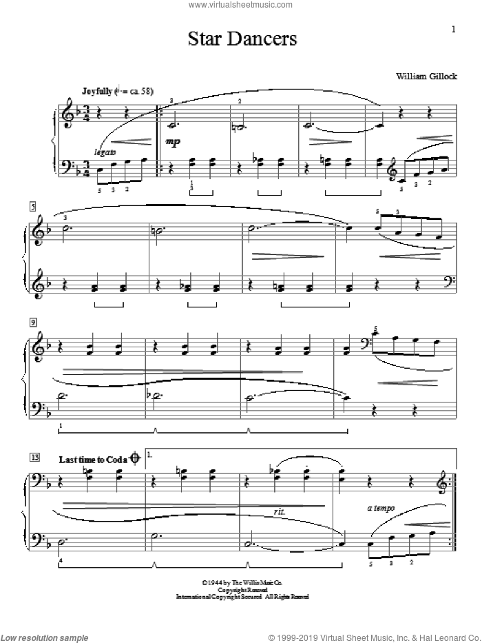 Star Dancers sheet music for piano solo (elementary) by William Gillock, beginner piano (elementary)