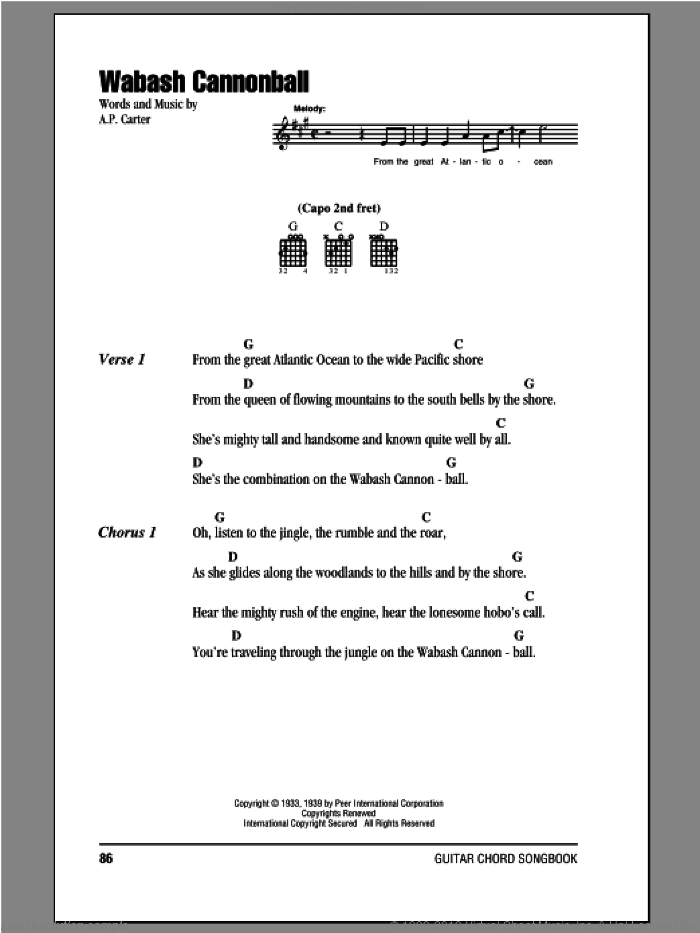 Wabash Cannonball sheet music for guitar (chords) by The Carter Family and A.P. Carter, intermediate skill level