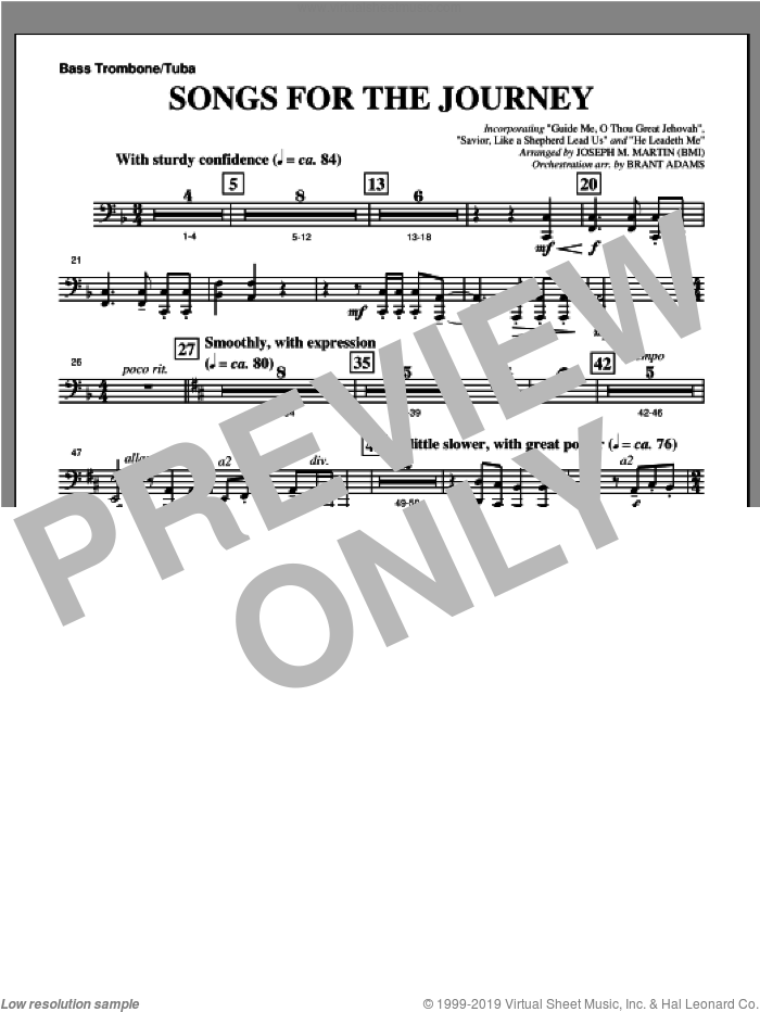 Songs For The Journey (from 'Footprints In The Sand') sheet music for orchestra/band (bass trombone/tuba) by Joseph M. Martin, intermediate skill level