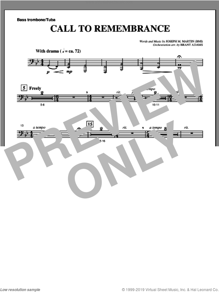 Call To Remembrance (from 'Harvest Of Sorrows') sheet music for orchestra/band (bass trombone/tuba) by Joseph M. Martin, intermediate skill level