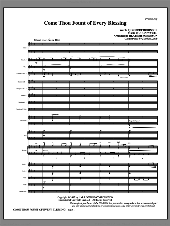 Come, Thou Fount Of Every Blessing (complete set of parts) sheet music for orchestra/band (Orchestra) by Robert Robinson, Heather Sorenson and John Wyeth, intermediate skill level