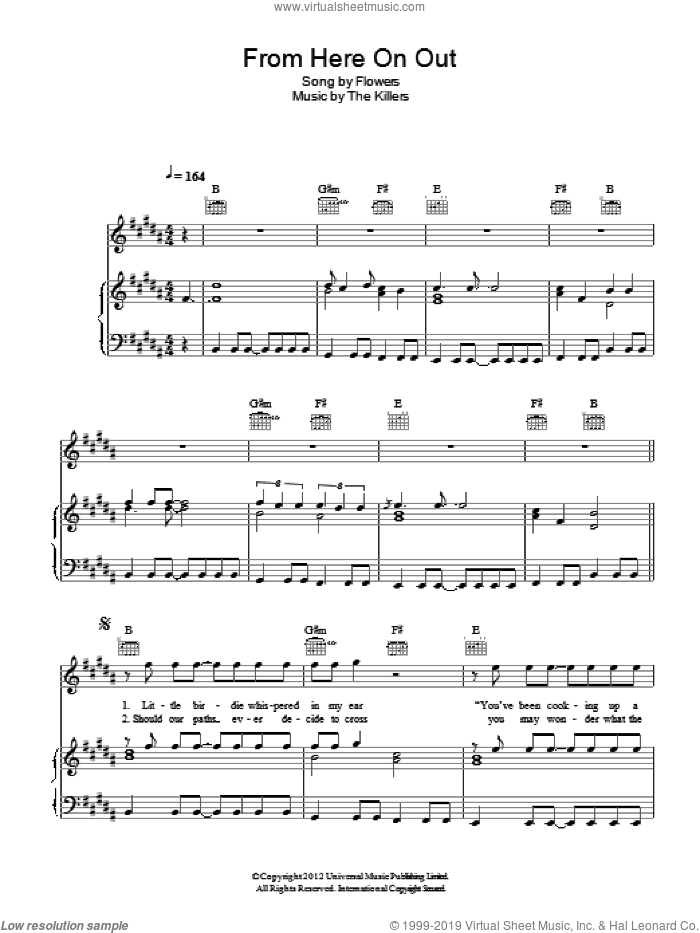 From Here On Out sheet music for voice, piano or guitar by The Killers, Brandon Flowers, Dave Keuning, Mark Stoermer and Ronnie Vannucci, intermediate skill level