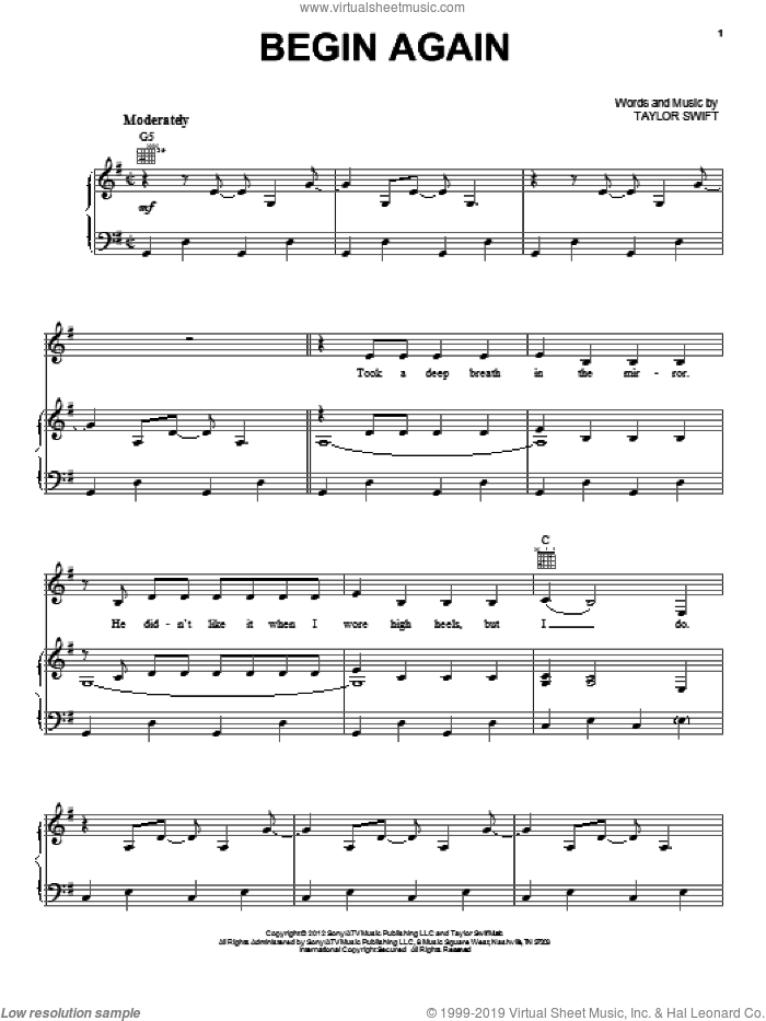 Begin Again sheet music for voice, piano or guitar by Taylor Swift, intermediate skill level