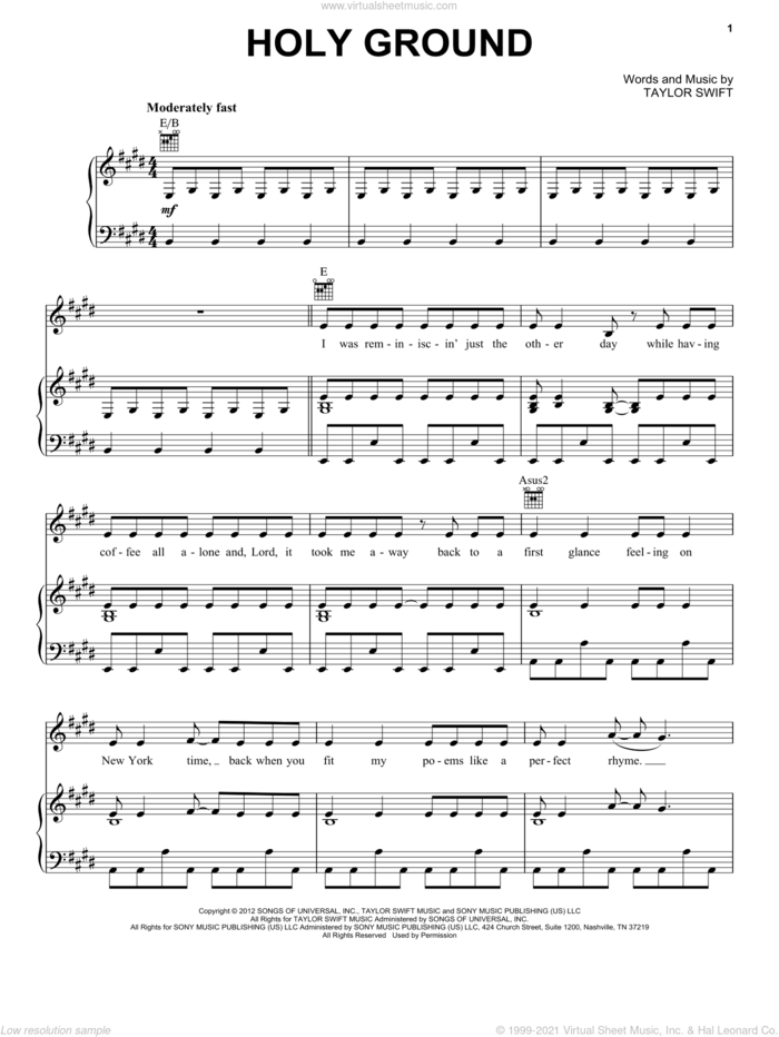 Holy Ground sheet music for voice, piano or guitar by Taylor Swift, intermediate skill level