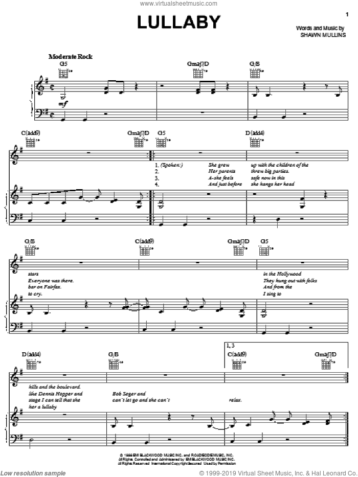 Lullaby sheet music for voice, piano or guitar by Shawn Mullins, intermediate skill level