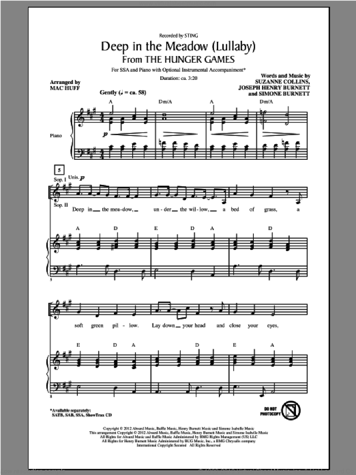 Deep In The Meadow sheet music for choir (SSA: soprano, alto) by Mac Huff and Sting, intermediate skill level