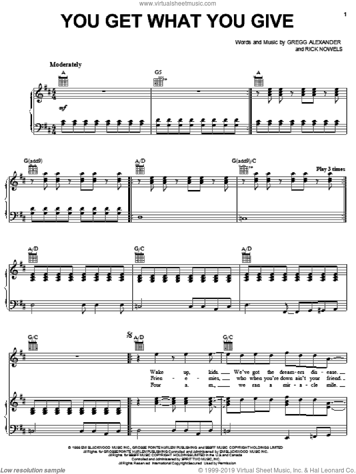 You Get What You Give sheet music for voice, piano or guitar by New Radicals, Gregg Alexander and Rick Nowels, intermediate skill level