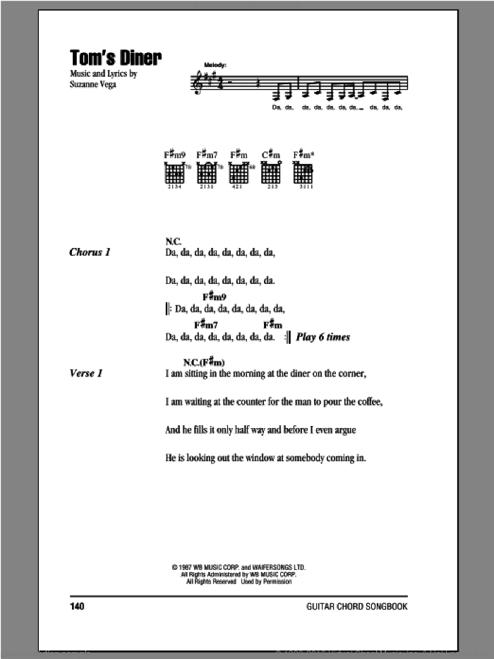 Tom's Diner sheet music for guitar (chords) by Suzanne Vega, intermediate skill level