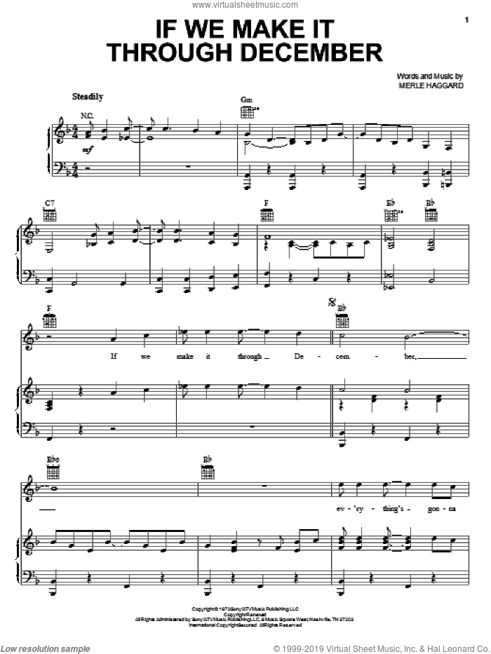 If We Make It Through December sheet music for voice, piano or guitar by Merle Haggard, intermediate skill level