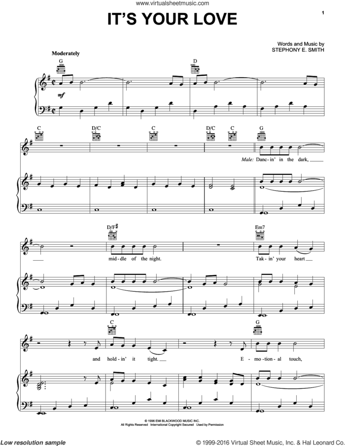 It's Your Love sheet music for voice, piano or guitar by Faith Hill with Tim McGraw, Faith Hill, Tim McGraw and Stephony E. Smith, wedding score, intermediate skill level