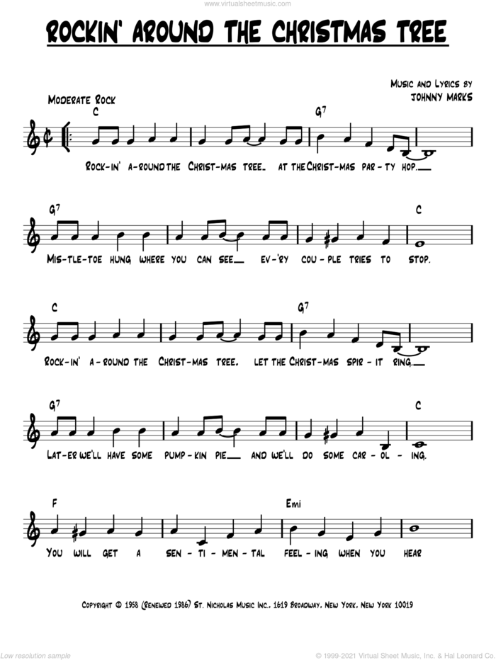 Rockin' Around The Christmas Tree sheet music for voice and other instruments (fake book) by Johnny Marks, intermediate skill level
